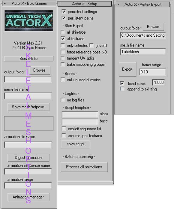 actorx - vertex settings