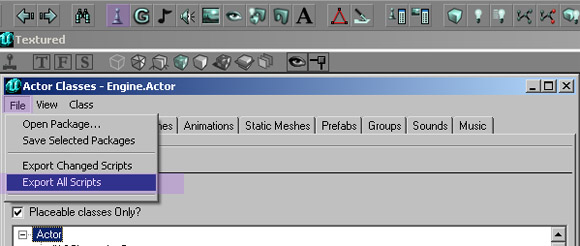 editor export scripts